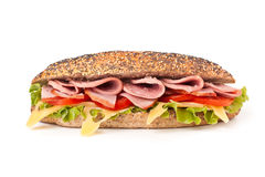 Sandwich with Lettuce, Tomatoes, Ham and Cheese Royalty Free Stock Photos