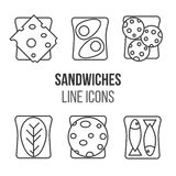 Sandwich line style icons set. Vector illustration. Meat and sandwiches.Different kinds of sandwiches. Breakfast traditional menu Royalty Free Stock Photos