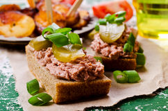 Sandwich with liver pate Royalty Free Stock Images