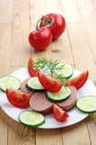 Sandwich with liver sausage, cucumber and tomato Stock Images