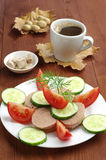 Sandwich with liver sausage and cup coffee Stock Images