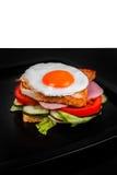 Sandwich lokalisiert auf Schwarzweiss-Hintergrund Lizenzfreies Stockfoto