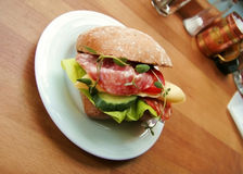 Sandwich for lunch?. A Sandwich in a coffe house made me hungry Stock Photos