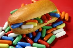 Sandwich made of colorful candy sweet Stock Photo