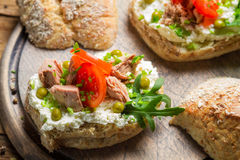 Sandwich made of cottage cheese, tuna and tomato royalty free stock photo