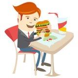 Sandwich mangeur d'hommes à bureau de hippie au café Style plat Photos stock
