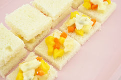 Sandwich mango apple carrot cucumber bread sliced cream salad Royalty Free Stock Photos