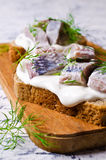 Sandwich with marinated herring Royalty Free Stock Image