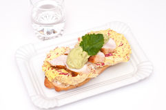 Sandwich with mashed avocado and chicken and salad Stock Image