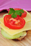 Sandwich with mature organic cheddar cheese. Sandwich with some mature organic cheddar cheese stock photos