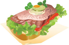Sandwich with meat. Appetizing sandwich with meat and a cucumber, on a napkin. vector. illustration Stock Photos
