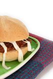 Sandwich meat balls and mayonnaise on a plate Royalty Free Stock Photography