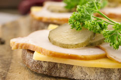 Sandwich with meat and chease on cutting board. Soft focus Royalty Free Stock Photos