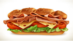 Sandwich with meat and cheese. Big sandwich with meat and cheese, vector icon,  on white background Stock Photo