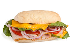 Sandwich with meat, cheese and vegetables Stock Photography