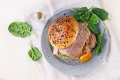 Sandwich with meat and egg Royalty Free Stock Photos