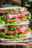 Sandwich with meat for the forester Stock Images
