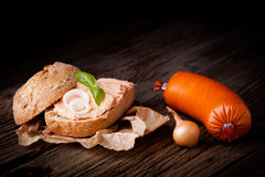 Sandwich with meat spread Royalty Free Stock Images