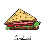 Sandwich with meat, tomatoes and lettuce. Hand drawn doodle, sketch in pop art style, vector Stock Photo