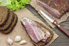 Sandwich meat top view. Of the wooden table Stock Photos
