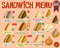 Sandwich-Menü Lizenzfreies Stockbild