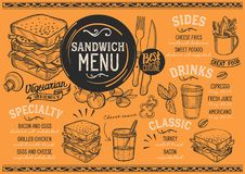 Sandwich menu restaurant, food template. Sandwich restaurant menu. Vector food flyer for bar and cafe. Design template with vintage hand-drawn illustrations royalty free illustration