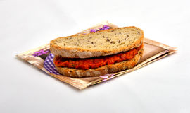 Sandwich met ajvar chutney, Stock Fotografie