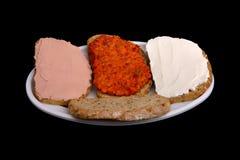 Sandwich met ajvar chutney, Stock Foto's