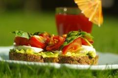 Sandwich met avocado en tomaat Royalty-vrije Stock Afbeelding