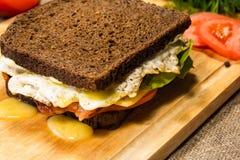 Sandwich met bacon en bruin brood Royalty-vrije Stock Foto's
