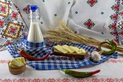 Sandwich met boter en melk Stock Afbeeldingen