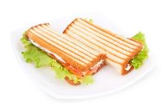 Sandwich met een zalm Stock Foto's
