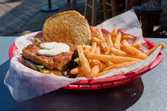 Sandwich met Frieten Stock Fotografie