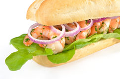 Sandwich met garnalen Stock Afbeelding