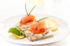 Sandwich met gerookte zalm Royalty-vrije Stock Fotografie