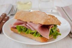 Sandwich met ham Stock Afbeelding