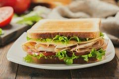 Sandwich met ham en groenten royalty-vrije stock afbeelding