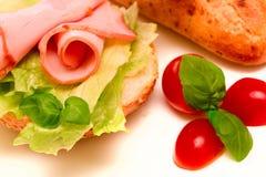 Sandwich met ham en sla Royalty-vrije Stock Foto