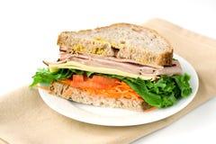Sandwich met ham en sla Stock Afbeelding