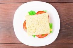 Sandwich met ham, kaas en tomaat Royalty-vrije Stock Fotografie