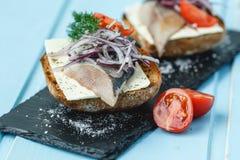 Sandwich met haringen Royalty-vrije Stock Foto