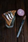 Sandwich met haringen en wodka Royalty-vrije Stock Afbeeldingen