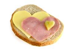 Sandwich met harten royalty-vrije stock afbeeldingen