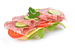 Sandwich met Italiaanse salami Royalty-vrije Stock Foto