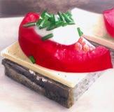 Sandwich met kaas en tomatenplak Stock Illustratie