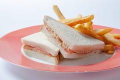Sandwich met kip, kaas en gouden Frietenaardappels Royalty-vrije Stock Afbeeldingen