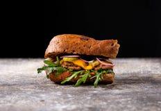 Sandwich met kip, ui, greens en groenten in het zuur stock foto's