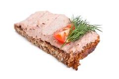Sandwich met leverpastei stock afbeelding