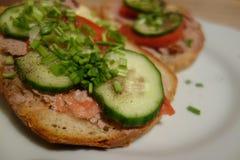 Sandwich met pastei en groenten Stock Afbeeldingen