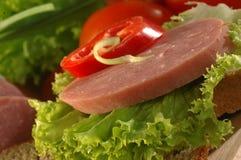 Sandwich met salami royalty-vrije stock afbeeldingen